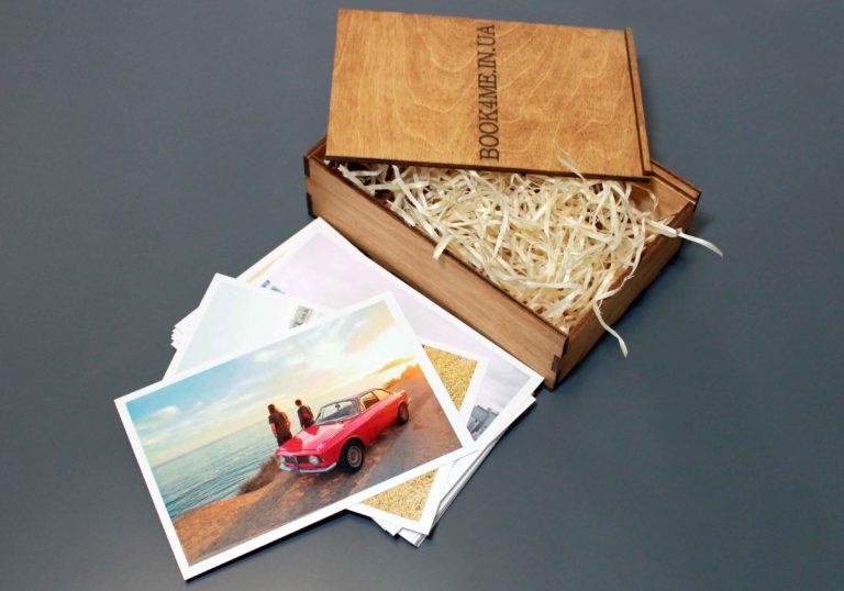 печать фото - фотокарточки в подарочном деревянном боксе